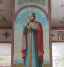Лики святых на росписях колонн